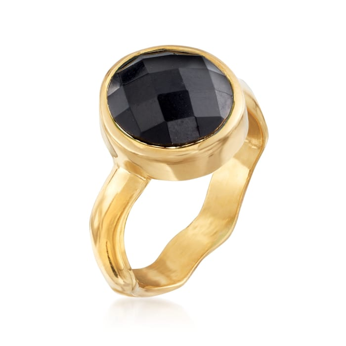 Black Onyx Ring in 18kt Gold Over Sterling