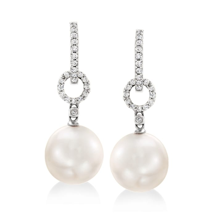 10-11mm Cultured South Sea Pearl and .29 ct. t.w. Diamond Hoop Drop Earrings in 18kt White Gold