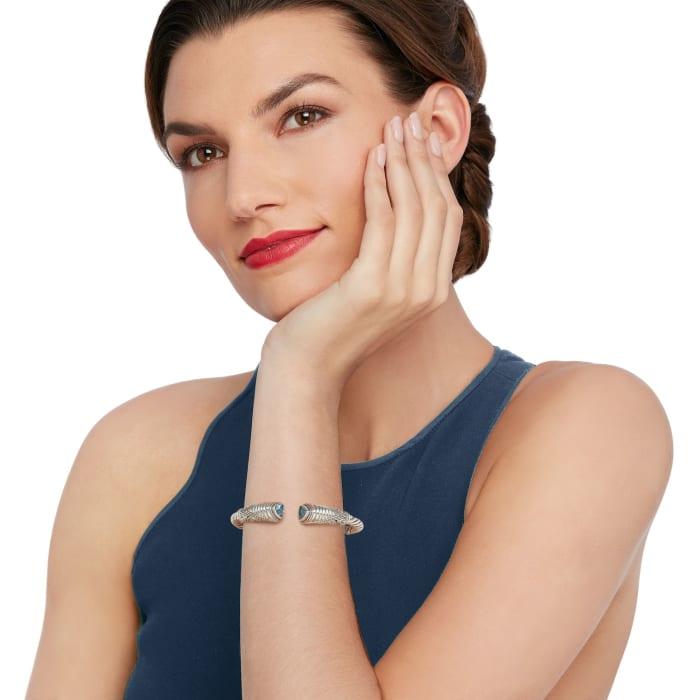 2.70 ct. t.w. Sky Blue Topaz Bali-Style Cuff Bracelet in Sterling Silver