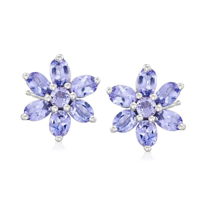 2.10 ct. t.w. Tanzanite Flower Earrings in Sterling Silver