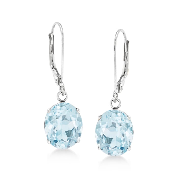 4.50 ct. t.w. Aquamarine Drop Earrings in 14kt White Gold