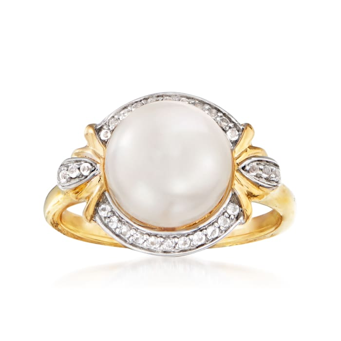 9.5-10mm Cultured Pearl and .10 ct. t.w. White Topaz Ring in 18kt Gold Over Sterling