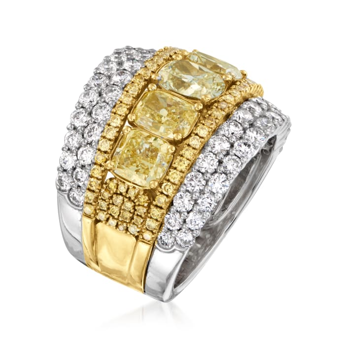 6.00 ct. t.w. Yellow and White Diamond Ring in 14kt Two-Tone Gold