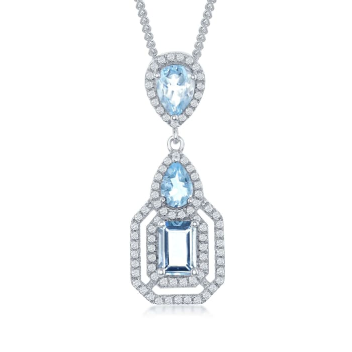 3.00 ct. t.w. Blue and White Topaz Pendant Necklace in Sterling Silver