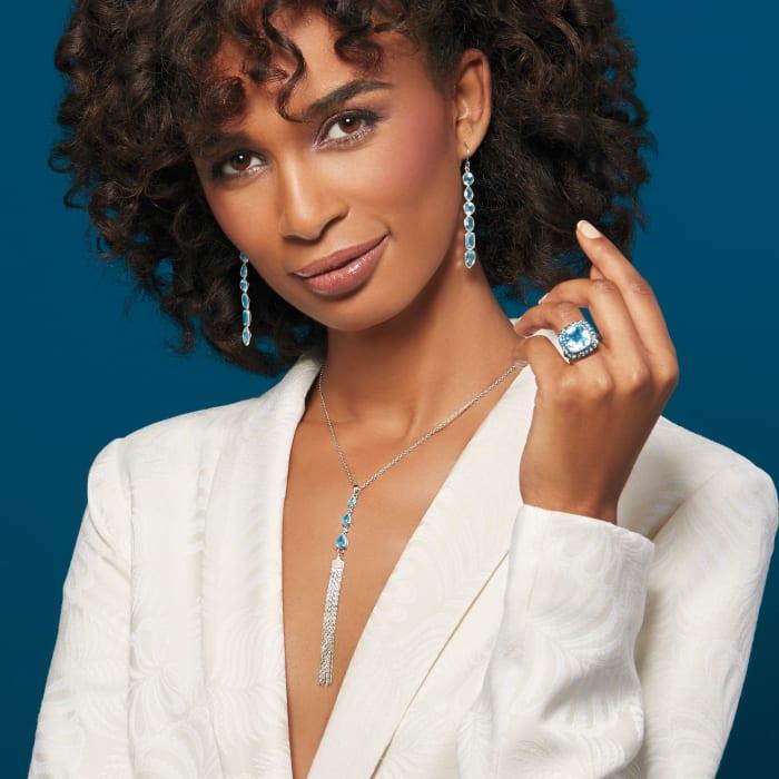 12.90 ct. t.w. Sky Blue Topaz Drop Earrings in Sterling Silver