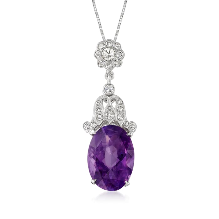 C. 1990 Vintage 5.95 Carat Amethyst and .42 ct. t.w. Diamond Pendant Necklace in 14kt White Gold