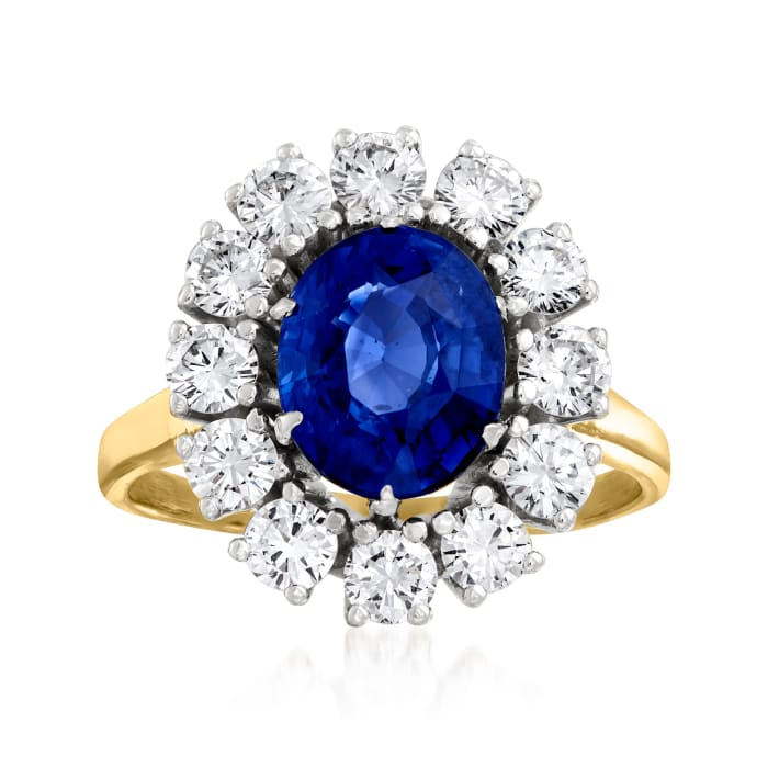 C. 1980 Vintage 2.75 Carat Sapphire and 1.35 ct. t.w. Diamond Cocktail Ring in 18kt Yellow Gold