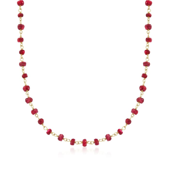 20.00 ct. t.w. Ruby Bead Necklace in 14kt Yellow Gold Over Sterling Silver