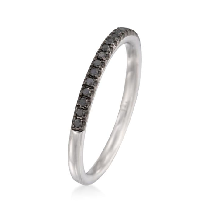 Henri Daussi .15 ct. t.w. Black Pave Diamond Wedding Ring in 18kt White Gold