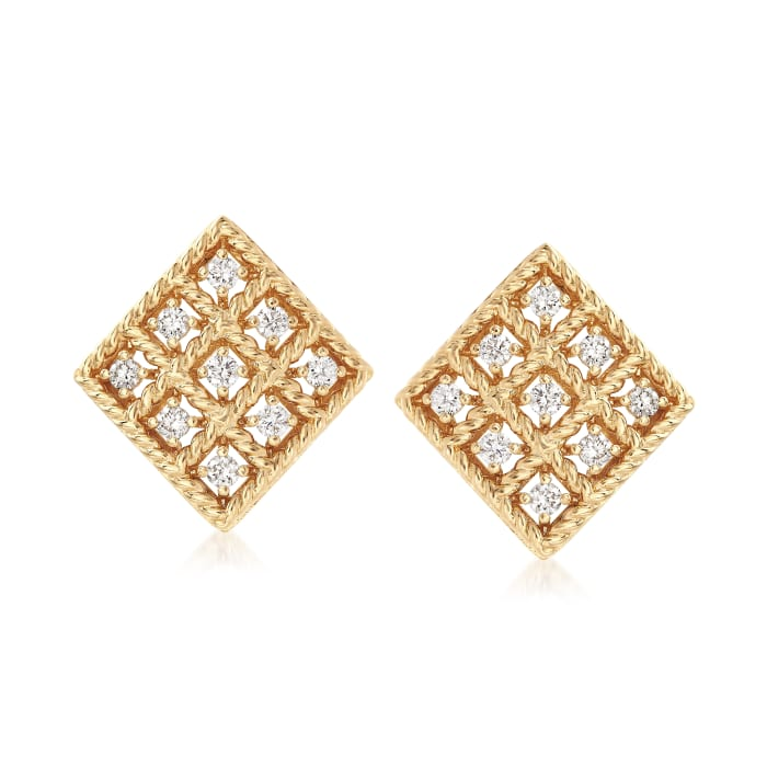 """Roberto Coin """"Byzantine Barocco"""" .30 ct. t.w. Diamond Small Square Earrings in 18kt Yellow Gold"""
