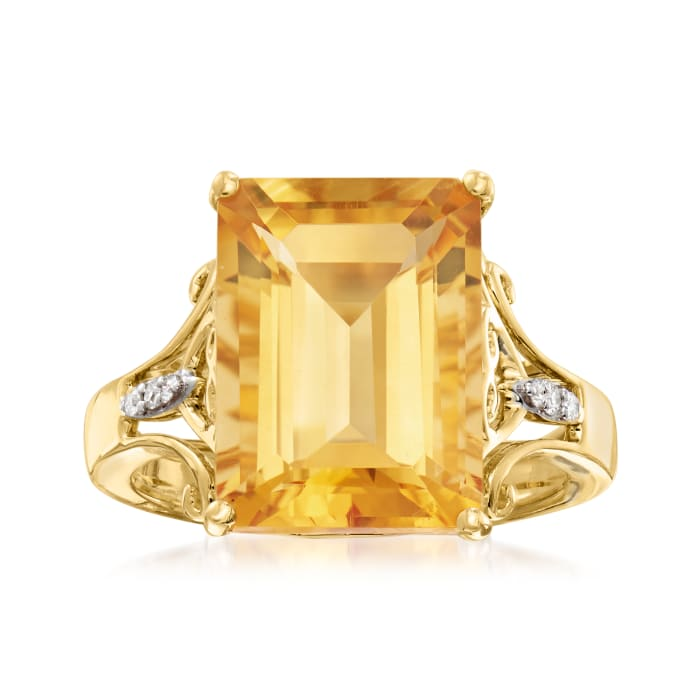 7.25 ct. t.w. Citrine Ring with Diamond Accents in 14kt Yellow Gold