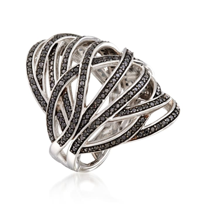 1.70 ct. t.w. Black Spinel Open Crisscross Bombe Ring in Sterling Silver