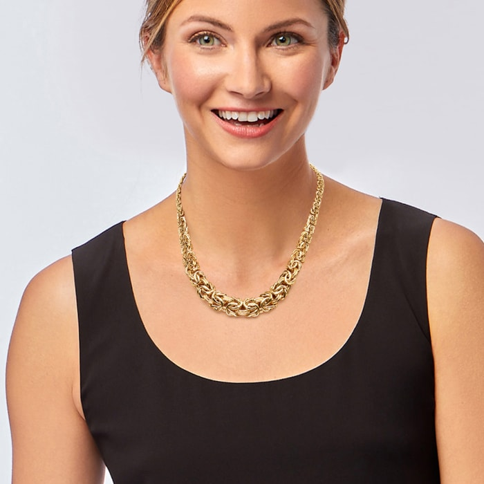 18kt Yellow Gold Graduated Byzantine Necklace 18-inch