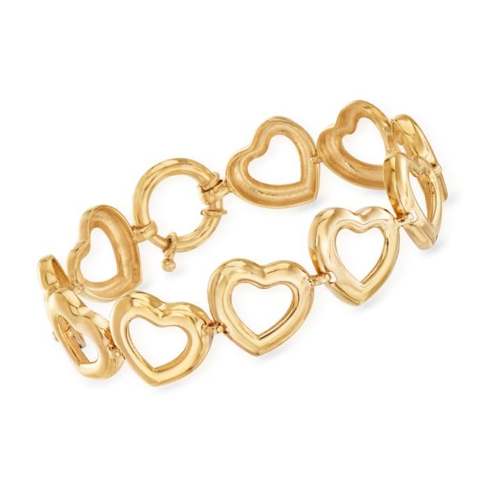 18kt Gold Over Sterling Heart Bracelet