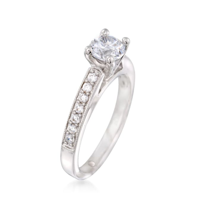 Gabriel Designs .25 ct. t.w. Diamond Engagement Ring Setting in 14kt White Gold
