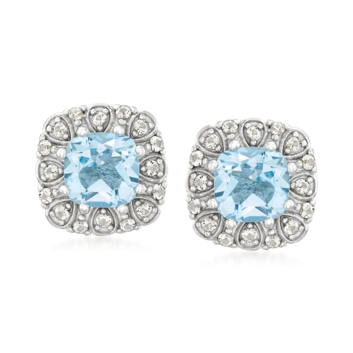 2.80 ct. t.w. Sky Blue Topaz and .26 ct. t.w. White Topaz Earrings in Sterling Silver