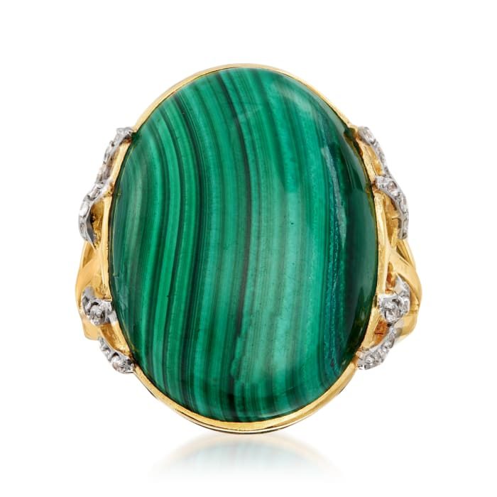 Malachite and .30 ct. t.w. White Topaz Cocktail Ring in 18kt Gold Over Sterling