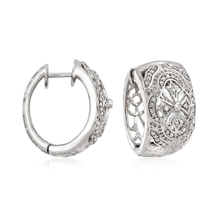 .36 ct. t.w. Diamond Openwork Cross Hoop Earrings in Sterling Silver