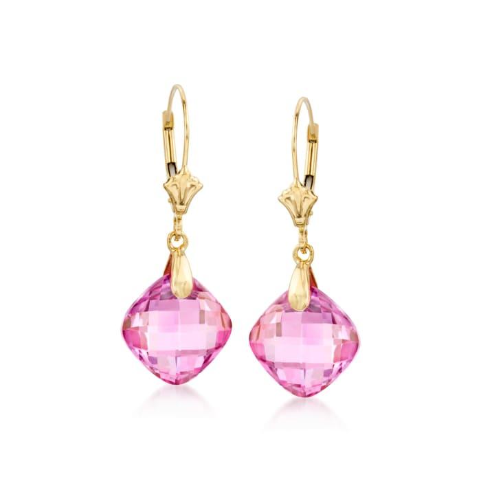 8.00 ct. t.w. Pink Topaz Drop Earrings in 14kt Yellow Gold