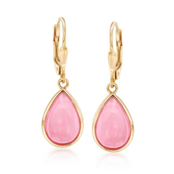 Pink Opal Teardrop Earrings in 18kt Gold Over Sterling