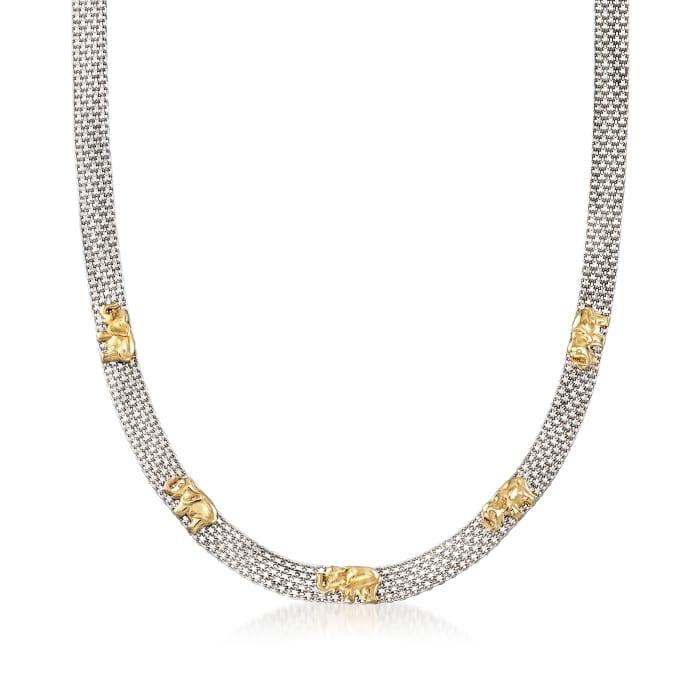 Sterling Silver and 18kt Gold Over Sterling Elephant Bismark-Link Necklace