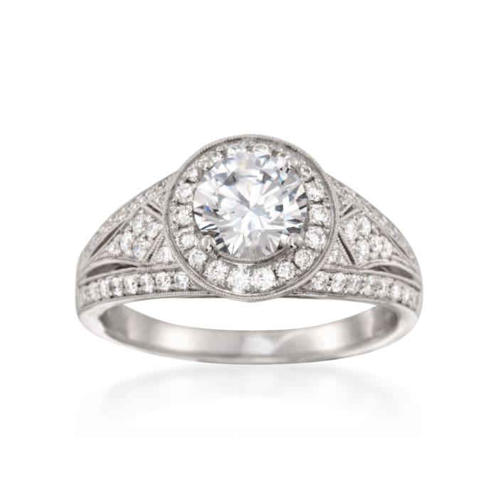 Simon G. .49 ct. t.w. Diamond Engagement Ring Setting in 18kt White Gold
