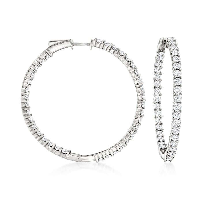 5.00 ct. t.w. Diamond Inside-Outside Hoop Earrings in 14kt White Gold