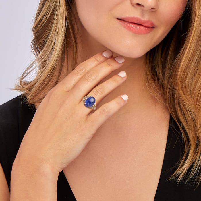 C. 1980 Vintage 11.50 Carat Tanzanite and .75 ct. t.w. Diamond Ring in 18kt Yellow Gold