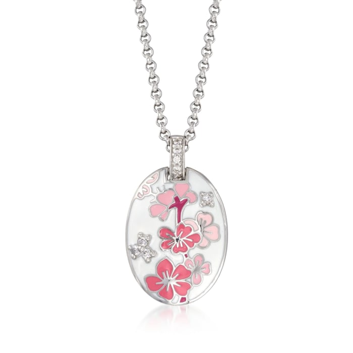 """Belle Etoile """"Constellations: Sakura"""" Pink Enamel and .25 ct. t.w. CZ Pendant in Sterling Silver"""