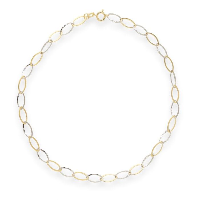 14kt Two-Tone Gold Oval-Link Anklet