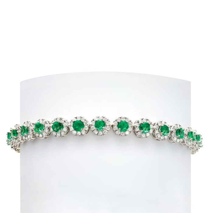 4.10 ct. t.w. Emerald and 3.00 ct. t.w. Diamond Tennis Bracelet in 14kt White Gold