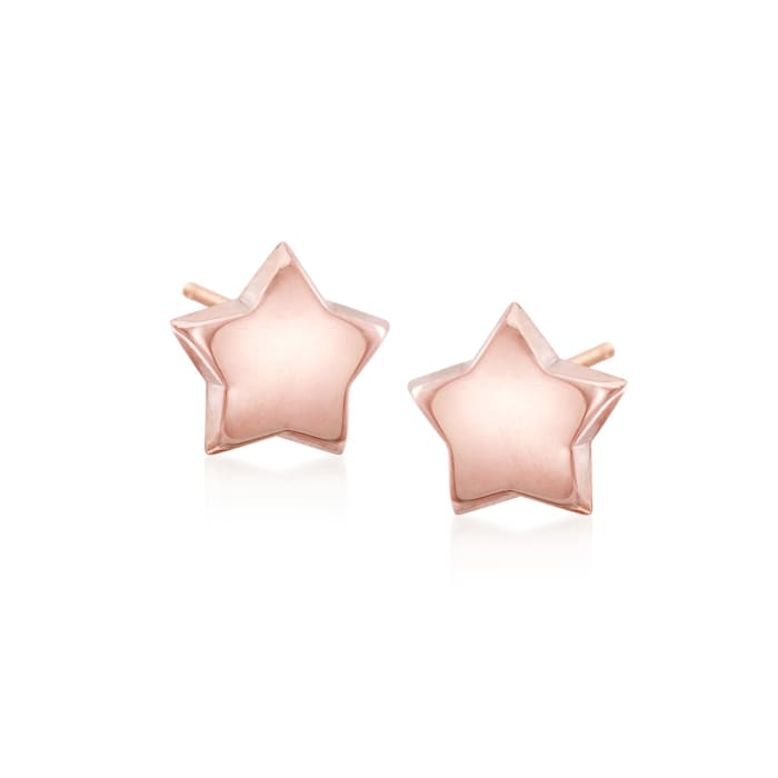 14kt Rose Gold Puffed Star Stud Earrings