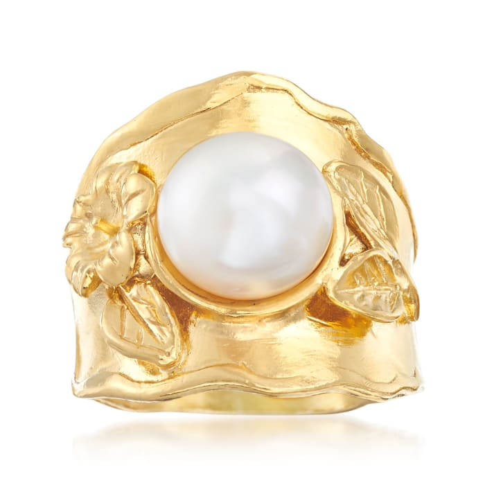 10mm Cultured Button Pearl Floral Ring in 18kt Gold Over Sterling