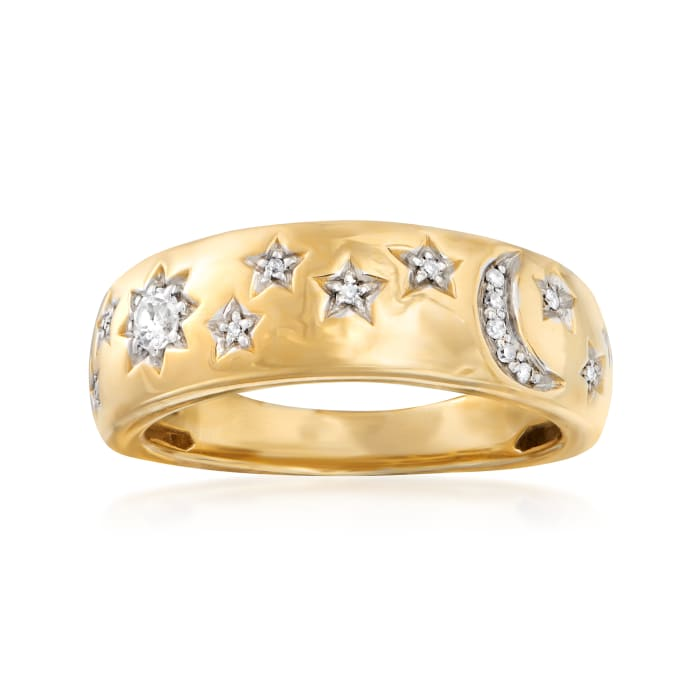 .10 ct. t.w. Diamond Moon and Star Ring in 18kt Gold Over Sterling
