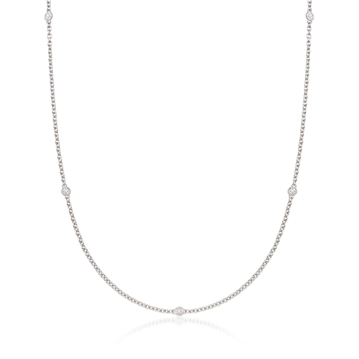 """Andrea Candela """"Enamorada"""" Sterling Silver Station Necklace with Diamond Accents"""
