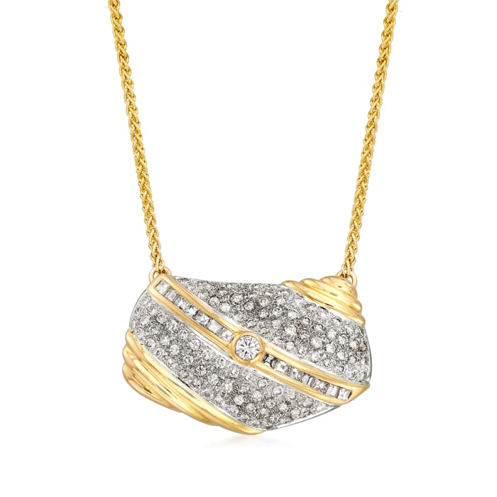 C. 1990 Vintage 2.95 ct. t.w. Diamond Purse Necklace in 14kt Yellow Gold
