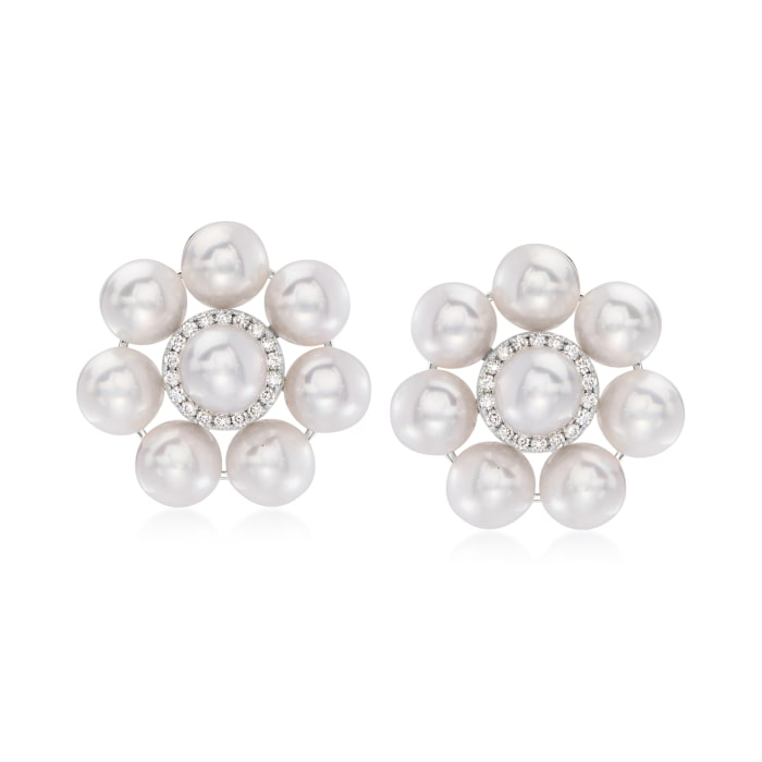 6.5-7mm Cultured Pearl and .30 ct. t.w. Diamond Floral Earrings in 14kt White Gold