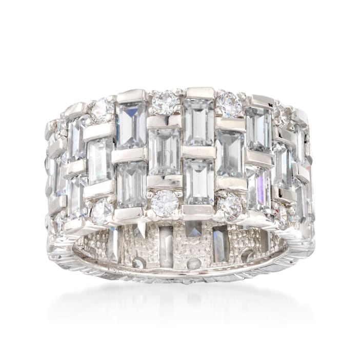 5.50 ct. t.w. Baguette and Round CZ Eternity Band in Sterling Silver
