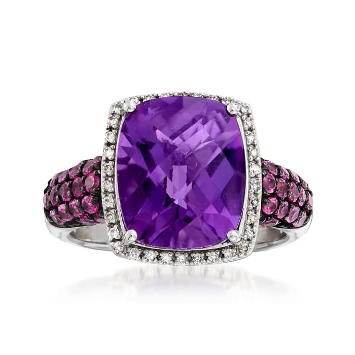 Italian 5.00 Carat Amethyst and .80 ct. t.w. Rhodolite Garnet Ring with .10 ct. t.w. Diamonds in Sterling Silver