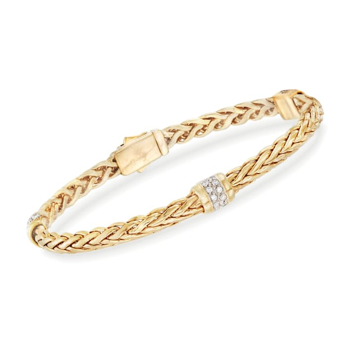 """Phillip Gavriel """"Woven Gold"""" .30 ct. t.w. Pave Diamond Station Link Bracelet in 14kt Yellow Gold"""