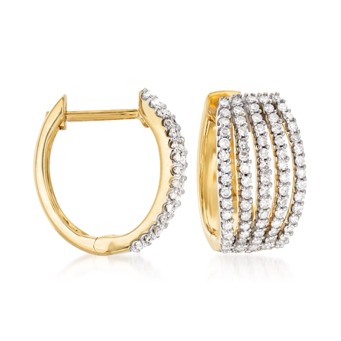 .50 ct. t.w. Diamond Multi-Row Huggie Hoop Earrings in 14kt Yellow Gold