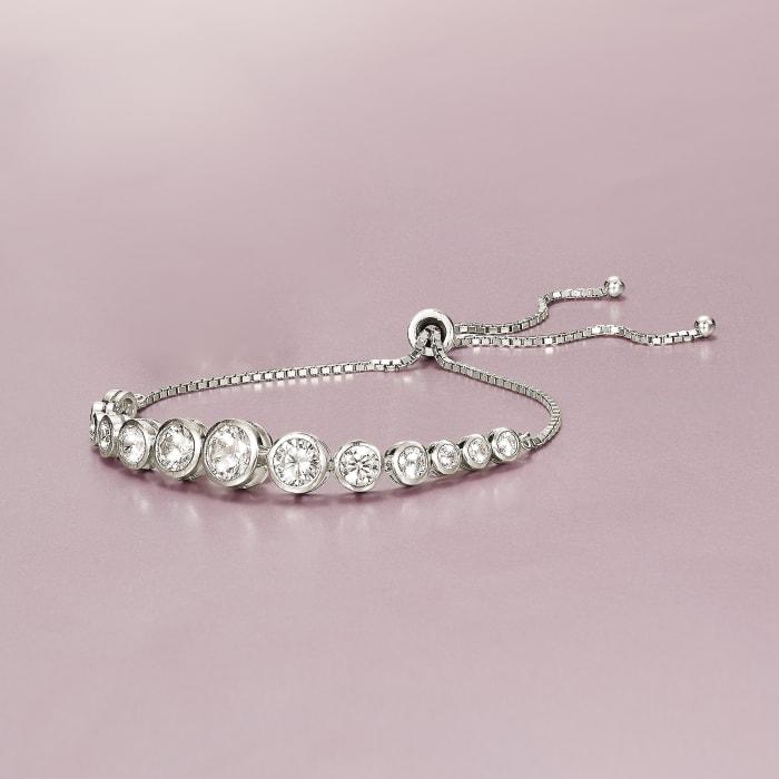 4.85 ct. t.w. Bezel-Set Graduated CZ Bolo Bracelet in Sterling Silver
