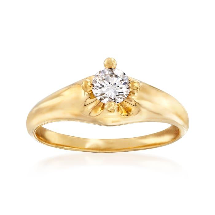 C. 1990 Vintage Bulgari .30 Carat Diamond Engagement Ring in 18kt Yellow Gold