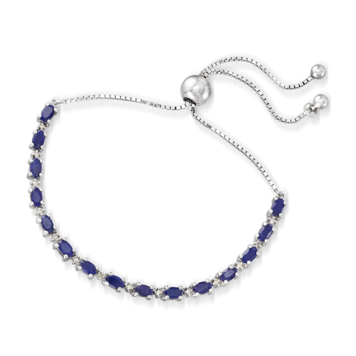 4.50 ct. t.w. Sapphire Bolo Bracelet with Diamond Accents in Sterling Silver