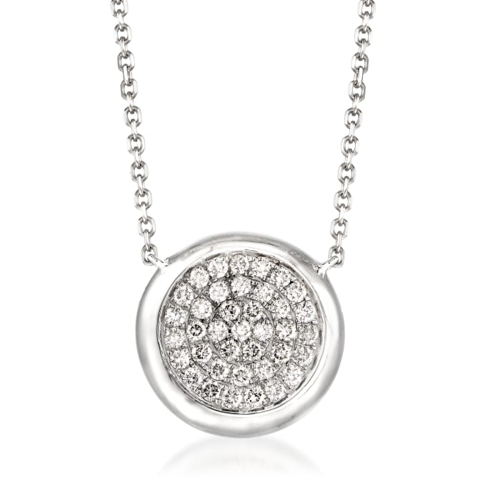 .41 ct. t.w. Pave Diamond Circle Necklace in 14kt White Gold