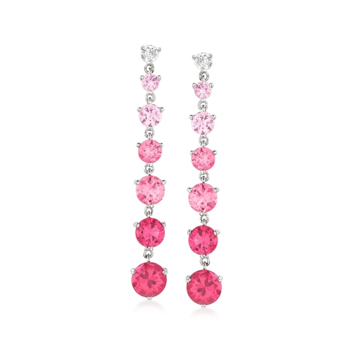 4.50 ct. t.w. Simulated Pink Sapphire and .20 ct. t.w. CZ Drop Earrings in Sterling Silver