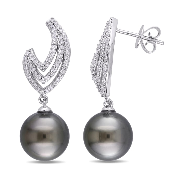 10-10.5mm Black Cultured Pearl and .69 ct. t.w. Diamond Drop Earrings in 14kt White Gold