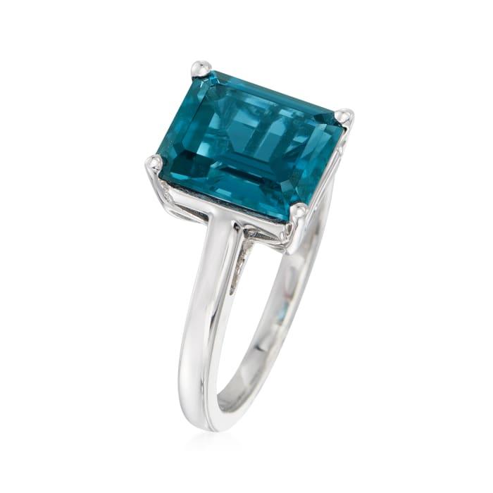 4.20 Carat Emerald-Cut London Blue Topaz Ring in Sterling Silver
