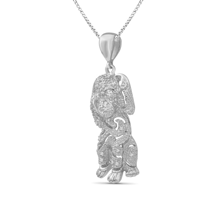 .10 ct. t.w. Diamond Dog Pendant Necklace in Sterling Silver