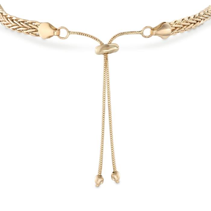 14kt Yellow Gold Wheat Chain Bolo Bracelet